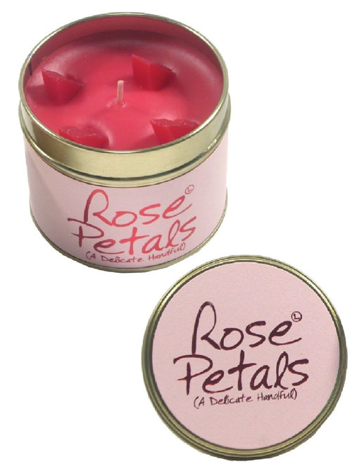 Lily Flame Scented Candle in Tin Rose Petals