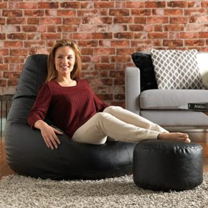 Bean Bag Bazaar Reclineer Faux Leather Black