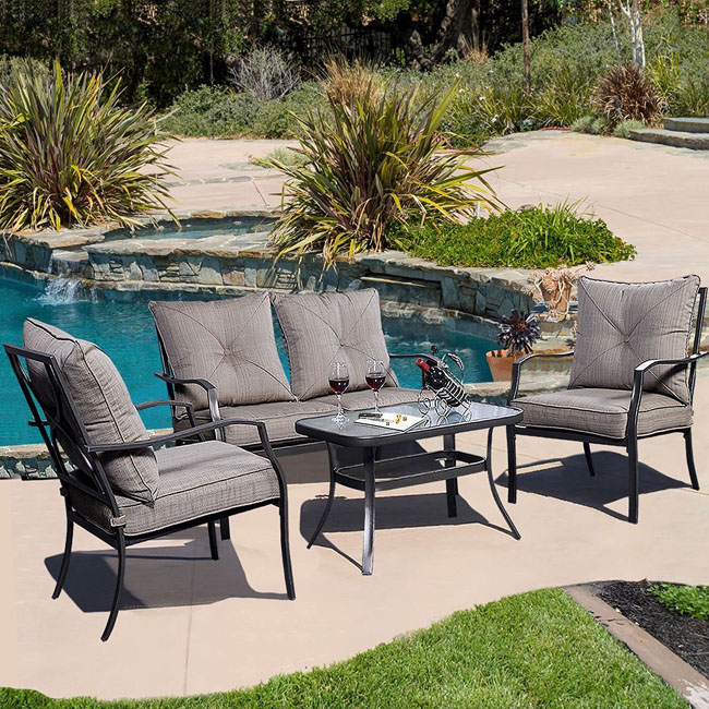 Giantex 4pc Patio Furniture Set Tea Table Chairs Stage