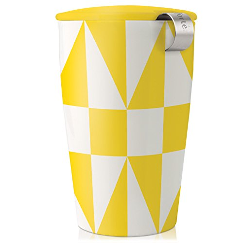 Tea Forte KATI Contemporary Insulated Ceramic Tea Brewing System with Yellow Design