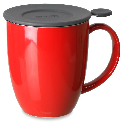 FORLIFE Uni Brew-in-Mug with Tea Infuser and Silicone Lid in Red