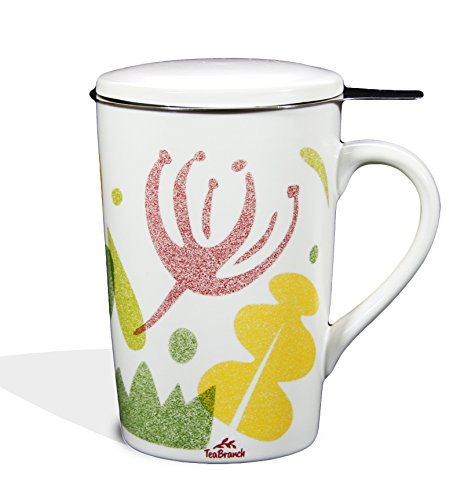 Tea Branch Spring Ceramic Tea Infuser Mug With Filter and Lid