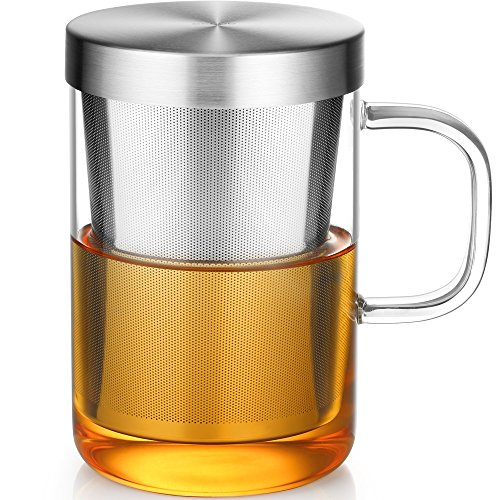 Ecooe Glass Tea Cup with Stainless Steel Infuser and Lid