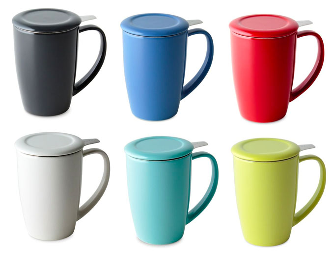 FORLIFE Curve Tall Tea Mug with Infuser and Lid On in Different Colours