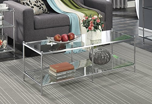 Convenience Concepts Royal Crest Collection Coffee Table Chrome Glass
