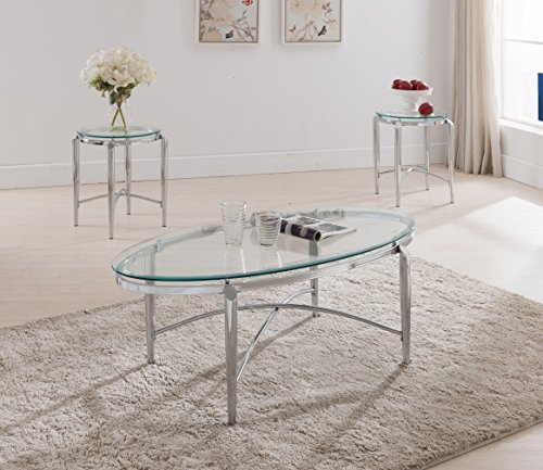 Kings Brand Furniture 3 Piece Glass Top Coffee Table 2 End Tables Occasional Set Chrome
