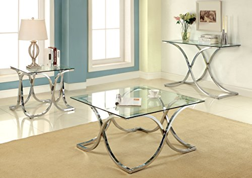 Furniture of America Kavetto Contemporary Coffee Table Chrome