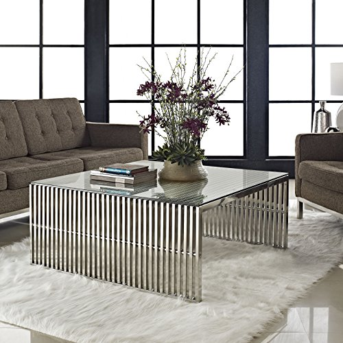 Modway Gridiron Stainless Steel Coffee Table with Tempered Glass Top