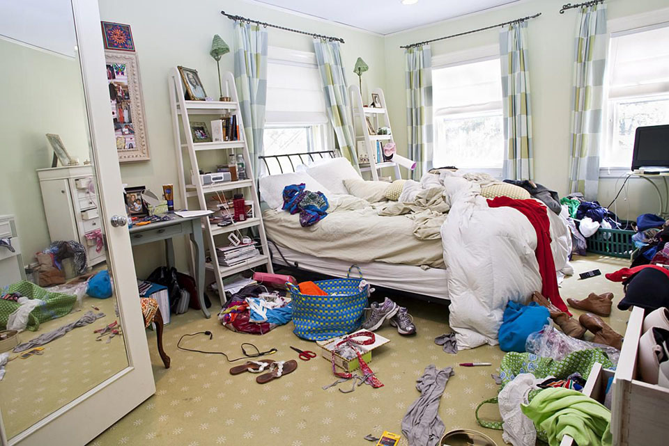 Time to declutter - a messy bedroom