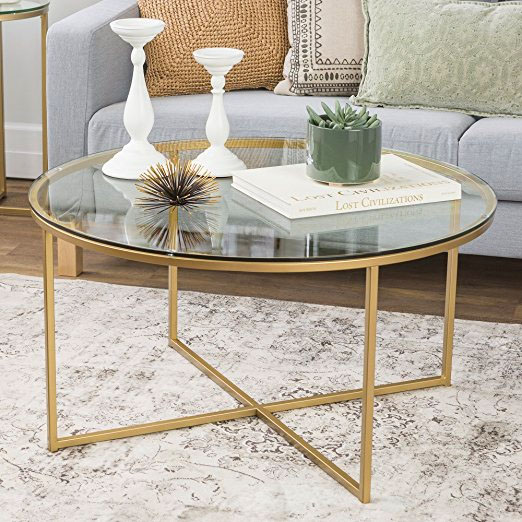 WE Furniture Glass Coffee Table with Gold Steel Legs