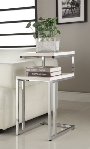 eHomeProducts White Finish Chrome Chair Side End Snack Table