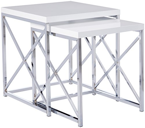 Monarch Specialties 3025 Nesting Table Chrome Metal with Glossy White