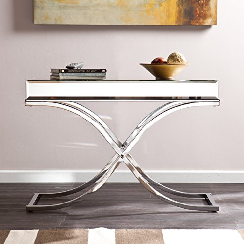 Southern Enterprises Ava Mirrored Console Table Chrome Frame Finish