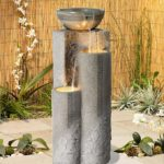 Faux Marble Bowl and Pillar Water Feature