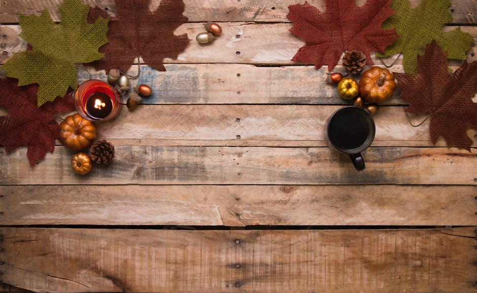 autumn decoration and coffee mugs