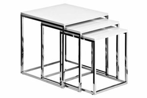 Nested Table Chrome with White Top