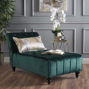 Rafaela Button-Tufted New Velvet Chaise Lounge Teal