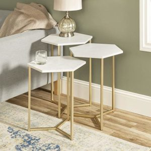 WE Furniture Nesting Tables Set of 3 Faux White MarbleGold