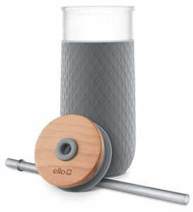 Glass Tumbler with Wooden Lid, Sleeve and Straw