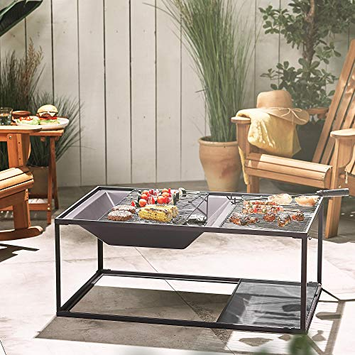 VonHaus 3-in-1 Fire Pit Table with BBQ Grill