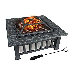 FOBUY Fire Pit with BBQ Grill Shelf Outdoor Metal Brazier Square Table