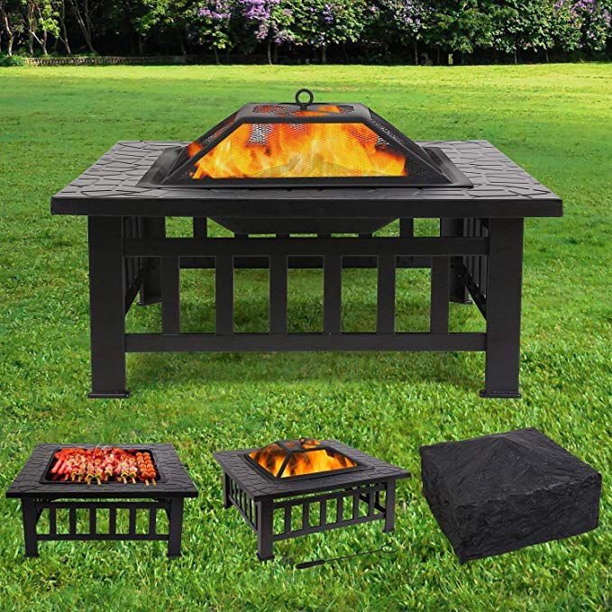 femor Large 3 in 1 Fire Pit with BBQ Grill Shelf