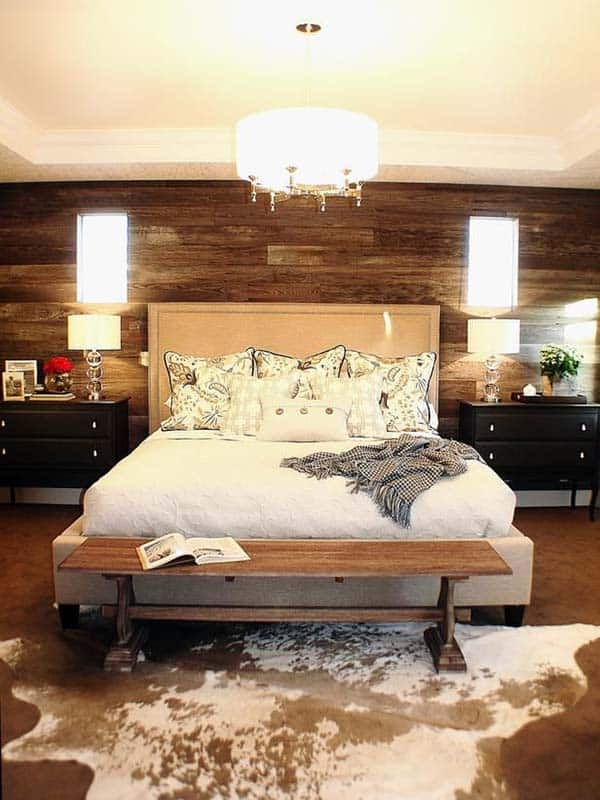 Bedroom Wooden Accent with Bright Lights