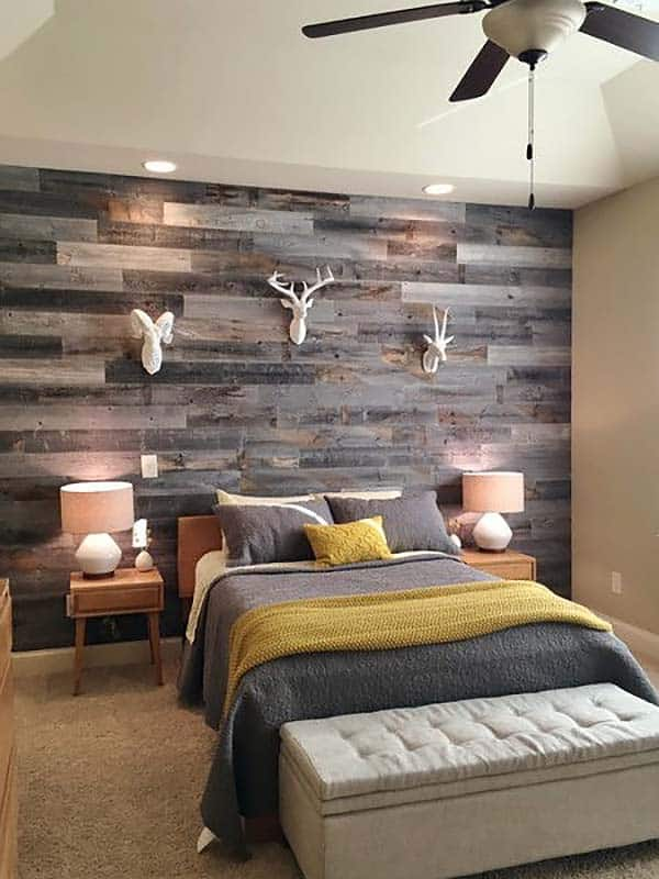 Dark Horizontal Wooden Panel-Bedroom