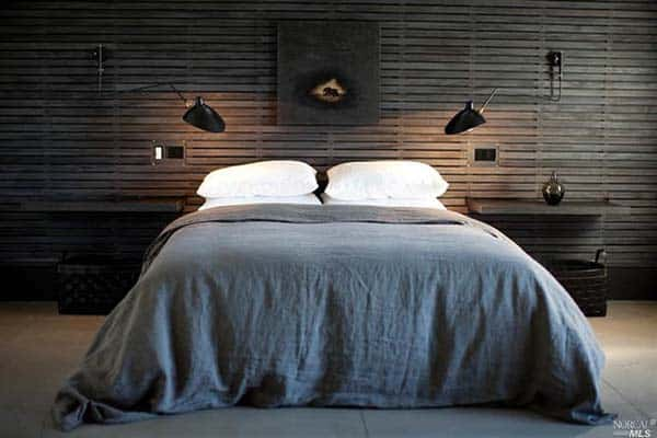 Dark Mysteriosus Wood Strip Clad-Bedroom-Walls in Grey