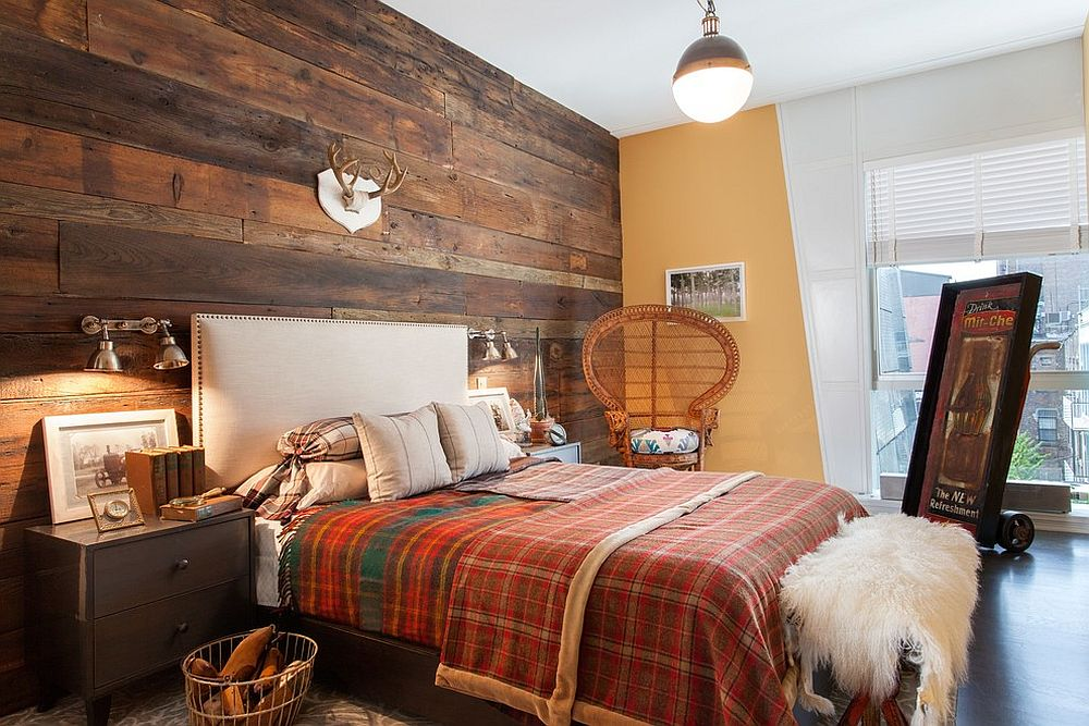 Fabulous bedroom with rustic and shabby chic style the centra focus being the wooden accent wall