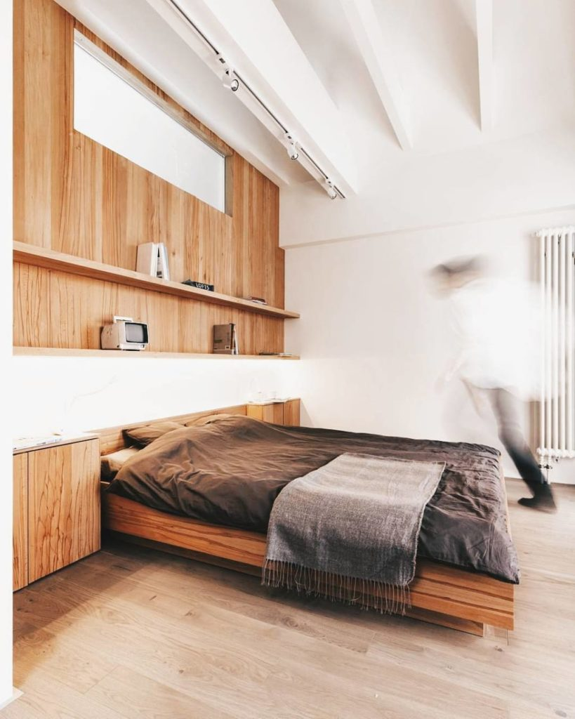 Functional Wooden Bedroom Wall