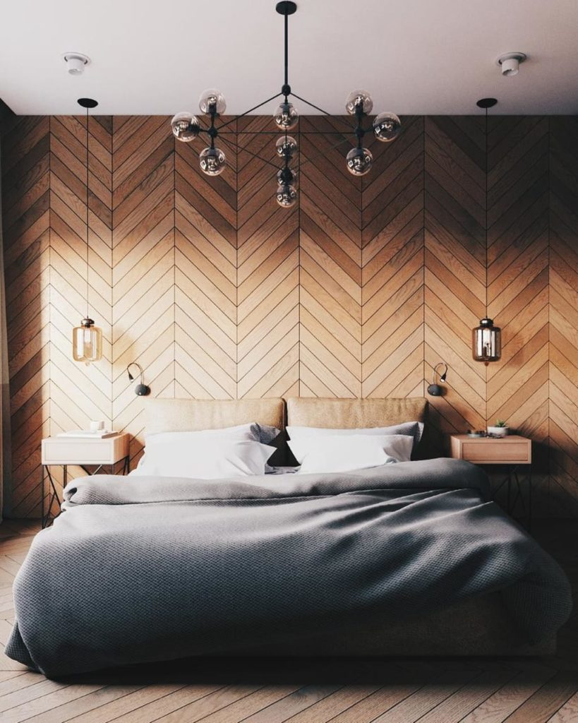 Geometric Wall with Wall Mounted Lamps Modern Bedroom