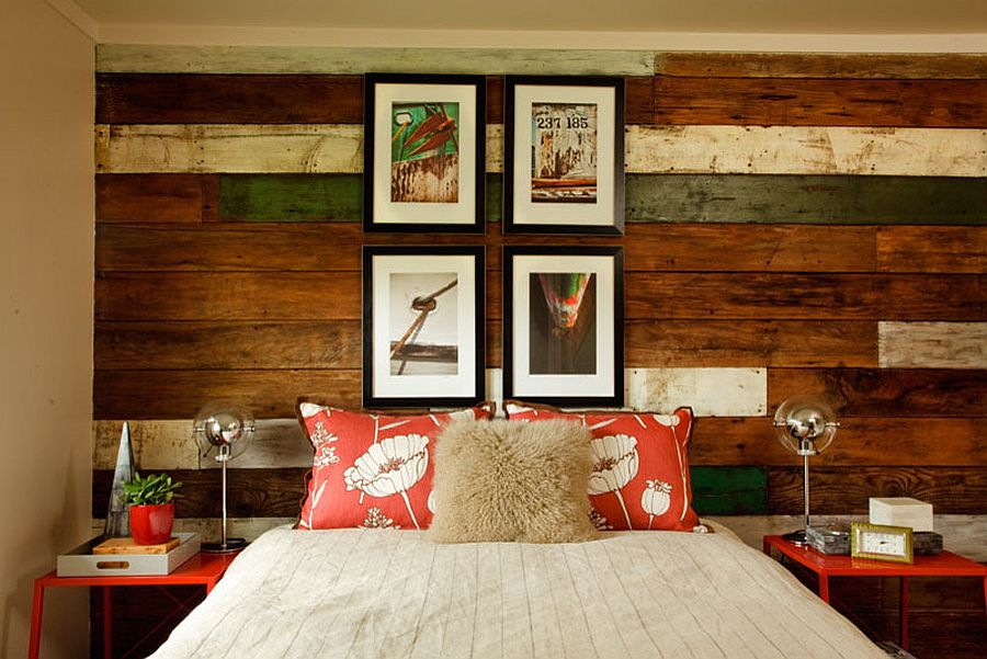 Gorgeous beach style bedroom with mixed reclaimed wood accent wall