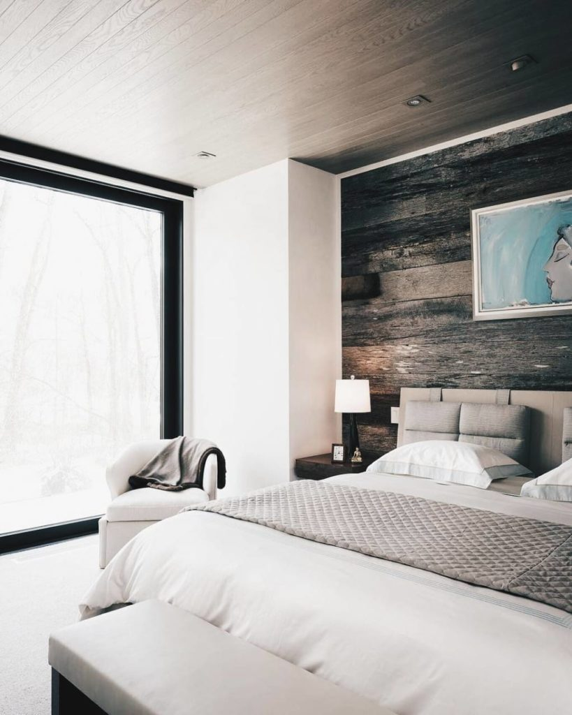 Grey Horizontal Wooden Feature Wall Bright Bedroom