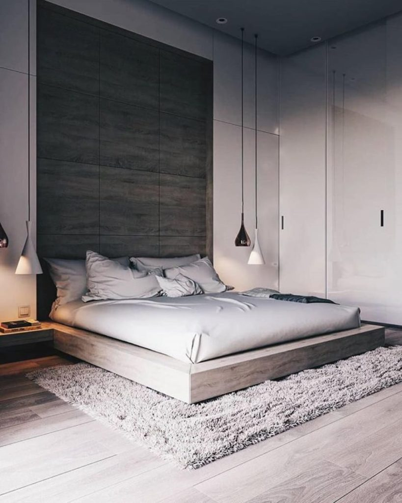 Grey Wooden Panel Feature Wall Modern Bedroom