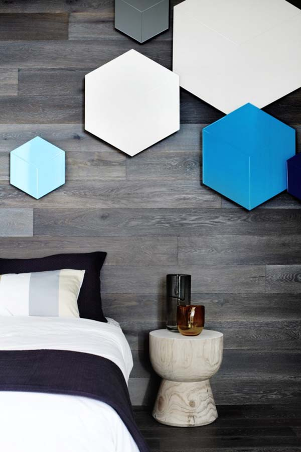Hexagon Design on Wooden Wall in Bedroom