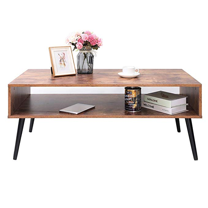 IWELL Mid-Century Coffee Table with Storage Shelf