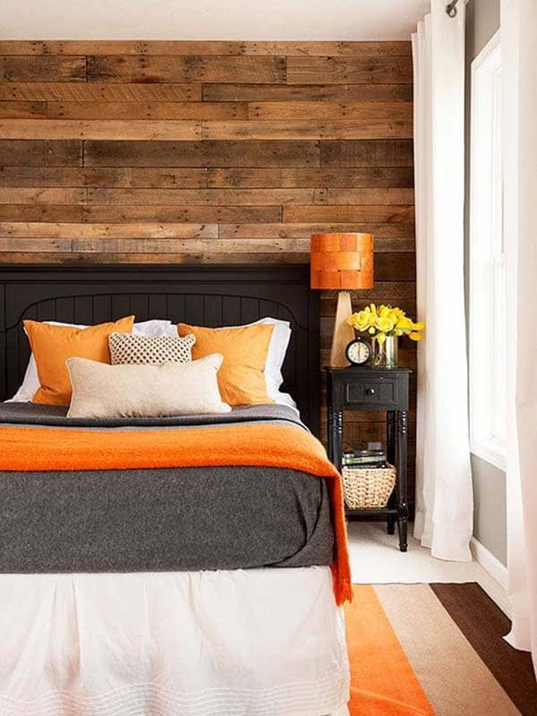 Light Bedroom with Bright Orange Grey Furnishing Lamp Wall