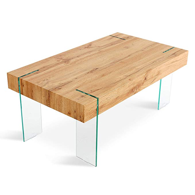 Mcombo Wooden Coffee Table with Tempered Glass Legs