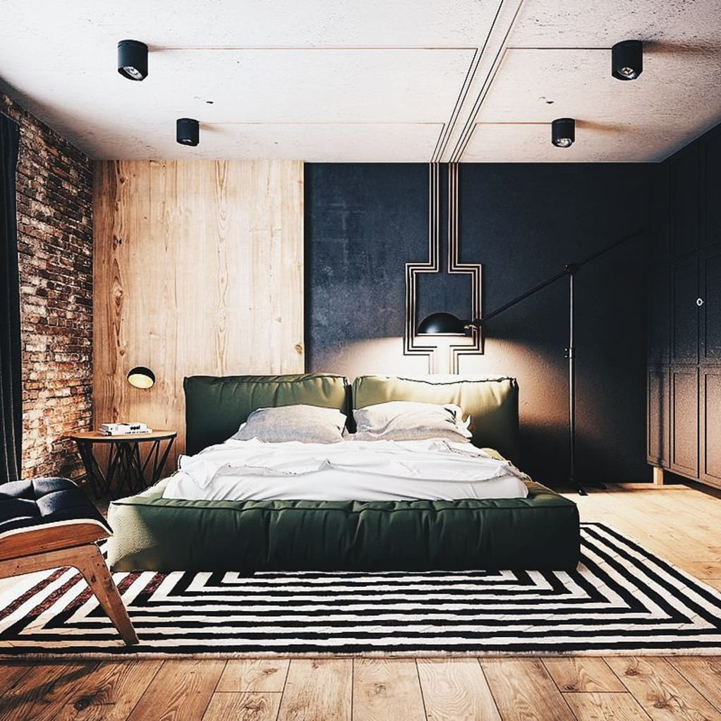 Mixed Exposed Brick, Wooden Panels, Cement, Concrete and Granite Tiled Wall in Bedroom. Design accent runs from wall to ceiling.