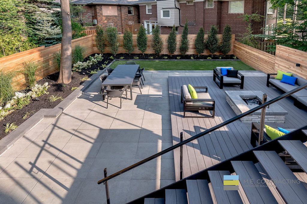 Modern Backyard Deck Design Seating View From Top Fireplace Dining Seating