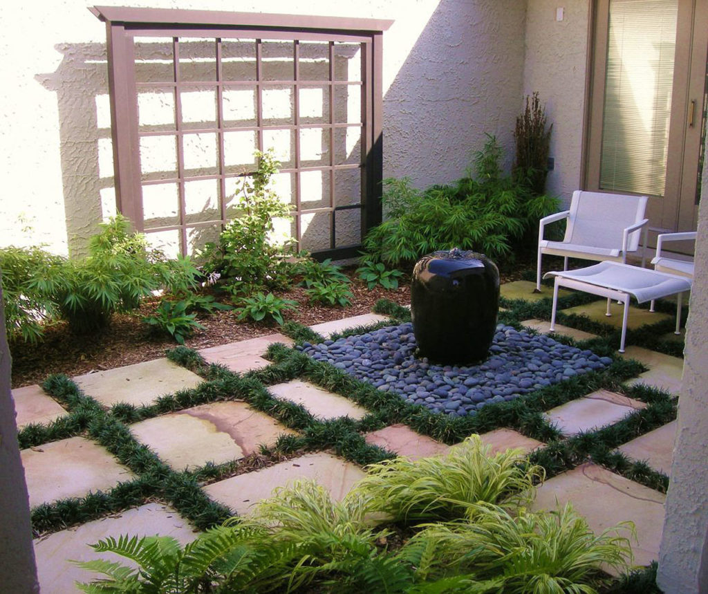 Modern Backyard Ideas With Water Feature Or Decorative Pond