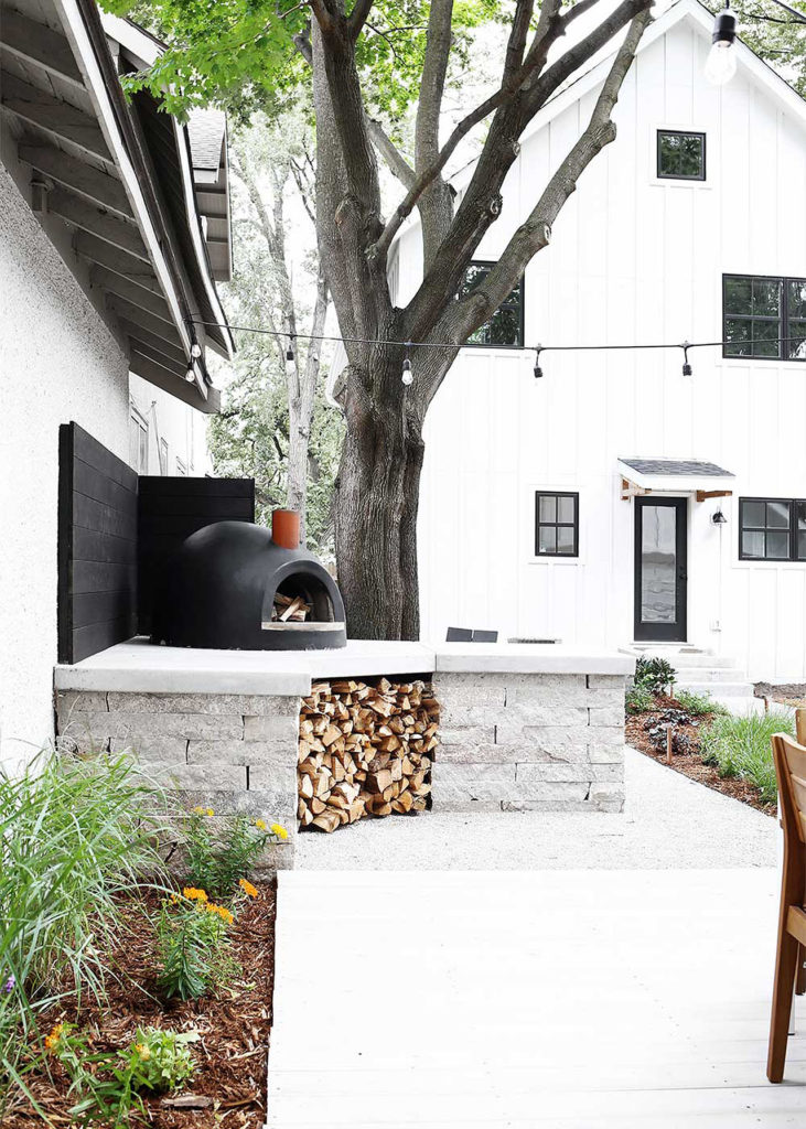 Modern Backyard Outdoor Seating Area and Oven