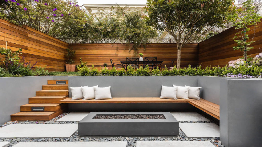 Modern Backyard Small-Space-Design-with-Fire-pit Floating Bench Terrace Steps