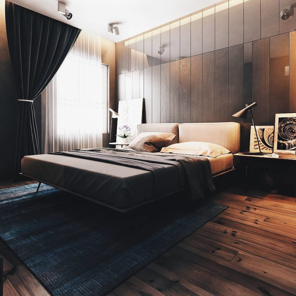 Modern Dark Vertical Wooden Accent Wall in a Bedroom with dark drapes and sheets