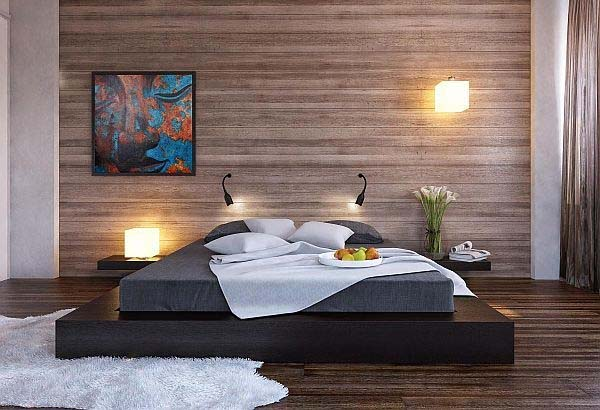 Modern Wooden-Bedroom-Walls-embedded lights