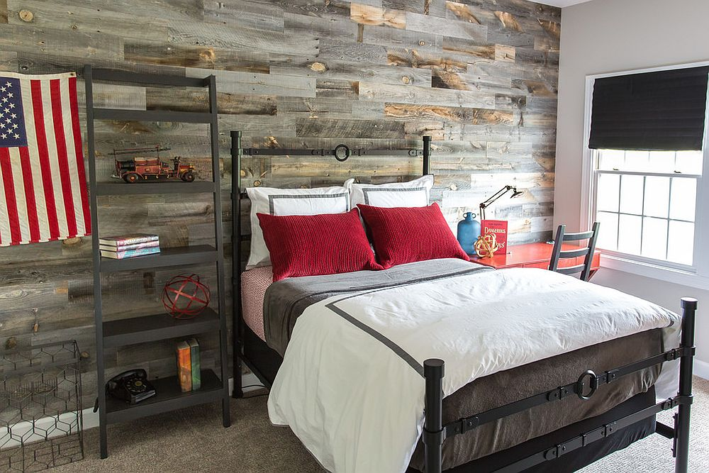Recycled wood wall bring plenty of texture to the young persons bedroom