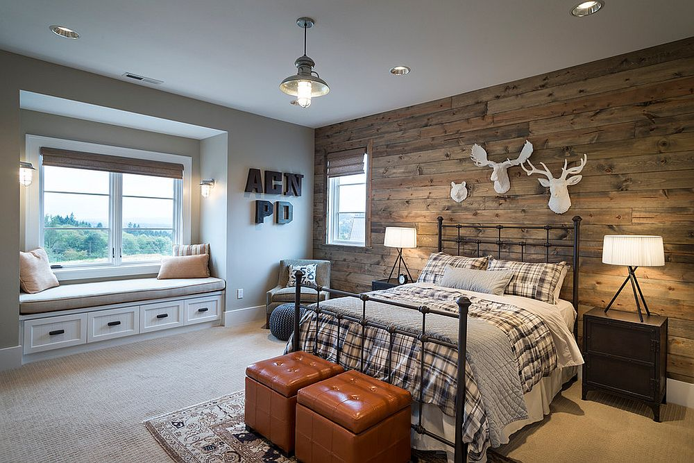 Smart-reclaimed-wood-wall-cabin-style-to-modern-bedroom