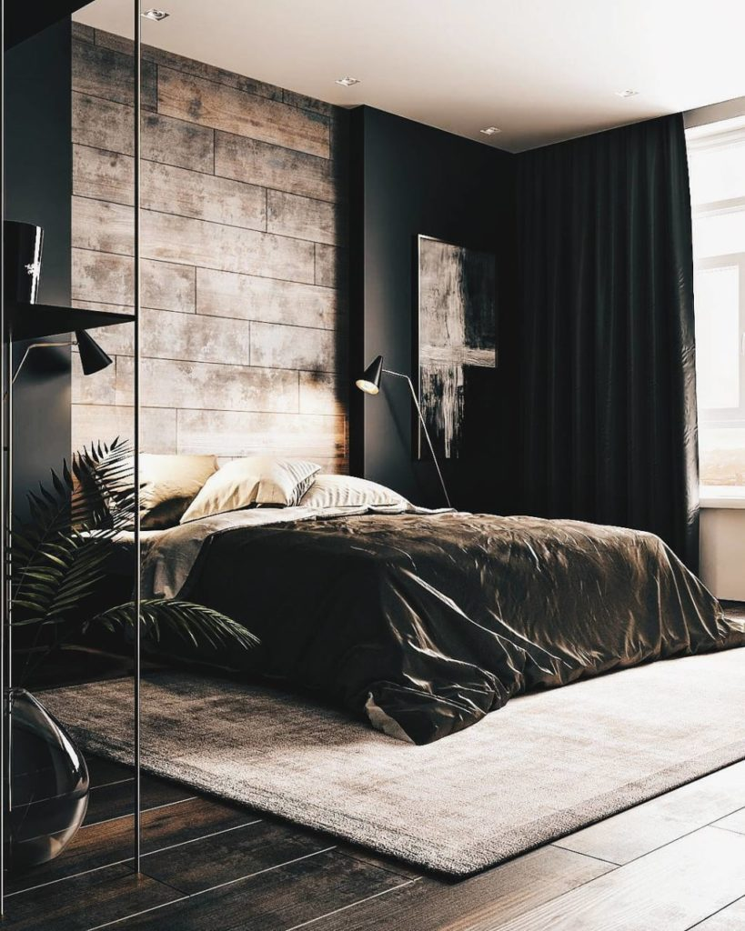 Sophisticated Wooden Feature Wall on Black Wall and Heavy Set Black Curtain