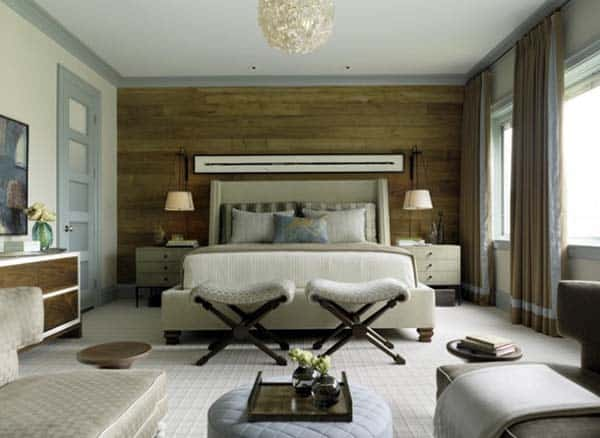 Spacious Beedroom With Wooden Feature Wall